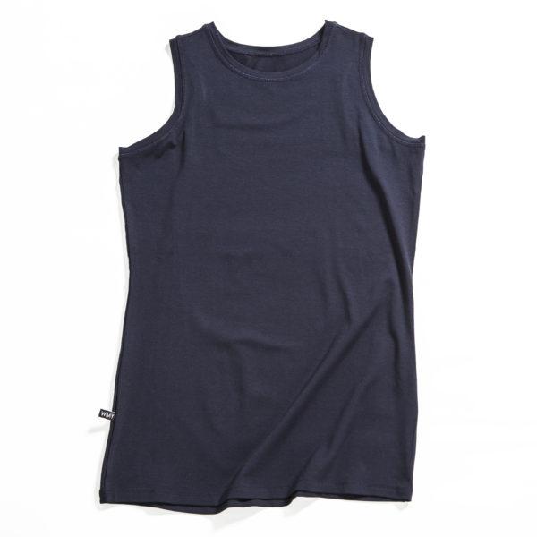 A black muscle tank top in jersey.