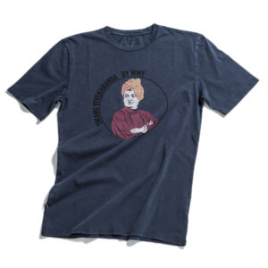 Blue t-shirt with Swami Vivekananda printed at front.