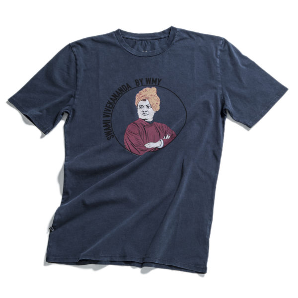 Blue t-shirt with Swami Vivekananda printed at front.
