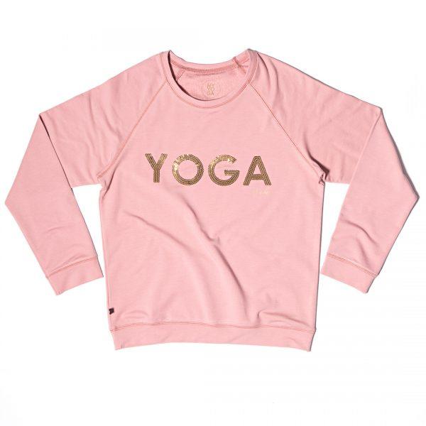 yoga sweater gold print