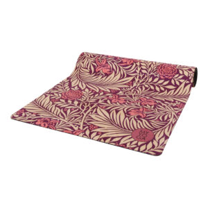 Yogamatta i W.Morris mönster i vinrött.