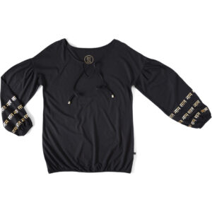 Phany puffsleeved top, black.