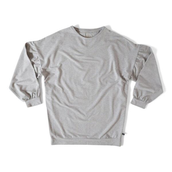 Grå sweatshirt med puffärmar och Unalome tryck på rygggen.