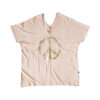 Avocado pink V-neck top with Peace print in gold.