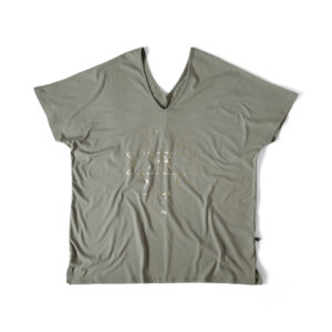 Ljust Khaki grön V-neck topp med tryck i guld.