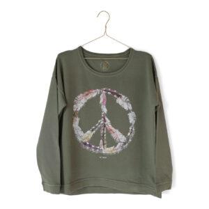 Sweatshirt med stort PEACE märke trycktfram.