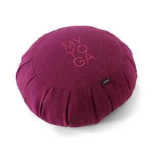 Purple Zafu in Linen with embroidery.